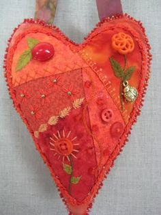 Corazón quilting en tonos naranja