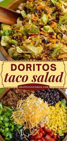 Taco Salad Doritos, Taco Salad Recipes, Salad Dressing Recipes, Mexican Food Recipes, Dinner Recipes, Dorito Taco Salad Recipe, Dinner Ideas, Taco Salad Catalina Dressing, Catalina Dressing Recipes