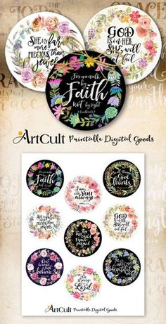 Printable 2.5 size circles BIBLE VERSES Set No2. Digital