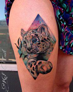 Snow leopard tattoo - by Kel Tait tattoo