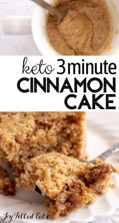 This fluffy Keto Cinnamon Mug Cake will leave you longing for another bite of its incredible flavors. You can whip up one of these personalized mug cakes in less than five minutes. They are delicious when topped with fruit and have a fantastic cinnamon flavor. You can enjoy these single-serving mug cakes and feel good because they are gluten-free, grain-free, sugar-free, low carb, and keto too. Healthy Low Carb Recipes, Low Carb Keto, Keto Recipes, Carb Free Foods, Carb Free Snacks, Diabetic Recipes, Low Carb Mug Cakes, Keto Mug Cake, Low Calorie Mug Cake
