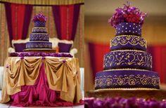 royal purple and gold wedding cake