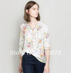 ST757 New Fashion Ladies' elegant Floral print stylish sexy Blouses vintage casual slim shirts long sleeve Sexy V-neck tops US $12.43