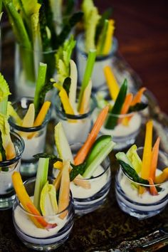 Having a summer wedding? What about simple veggie cups with ranch