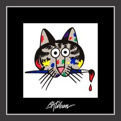 Painter Cat by B. Kliban and like OMG! get some yourself some pawtastic adorable cat apparel! Silly Cats, Funny Cats, I Love Cats, Cool Cats, Kliban Cat, Cat Comics, Cat Cafe, Animal Projects, Cat Drawing