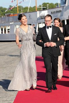 Crown Princess Victoria of Sweden and her husband Daniel, Duke of Vastergotland arrive for the private Pre-Wedding Dinner of Swedish Prince Carl Philip and Sofia Hellqvist on June 12, 2015 in Stockholm, Sweden.