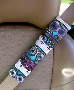 Seat Belt Strap Cover Colorful Owls with Reversible by SewSerene4