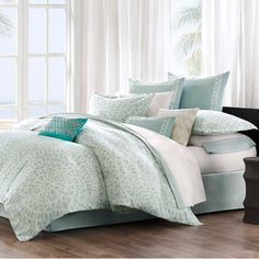 Sooth your soul and relax in this beautiful Mykonos King Size bedding collection by Echo Design in soft aqua and ivory tones