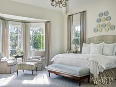 House Tour: Serene Coastal Style Especially table, foot stool Leontine Linens, Bed Linens, Georgia Homes, Atlanta Homes, Coastal Style, Bay Window, Beautiful Bedrooms, Luxury Bedding, Modern Bedding