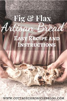 Easy Artisan Bread Recipe and Tutorial. This Fig and Flax No-Knead Bread has amazing texture and is incredibly easy to make. Artisan Bread Recipes, Recipe Cover, Dried Figs, No Knead Bread, Delicious Recipes, Easy Recipes, Healthy Recipes, Perfect Food, Easy Meals