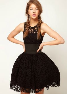 Black Sleeveless Hollow Lace Flare Dress
