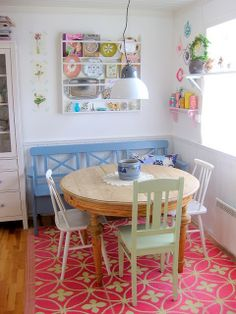 "bucketfulloffun: ""among-wildflowers: "" (via Stina Ballerina) "" I hope our future home has a little breakfast nook like this! Small Dining, Dining Area, Dining Table, Table Bench, Dining Room, Small Round Kitchen Table, Round Dining, Wood Table, Pastel Kitchen Decor"