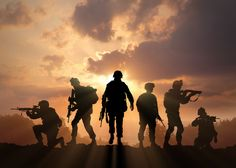 Find Six Military Silhouettes On Sunset Sky stock images in HD and millions of other royalty-free stock photos, illustrations and vectors in the Shutterstock collection. Thousands of new, high-quality pictures added every day. Military Drawings, Military Tattoos, Military Life, Military Art, Indian Army Wallpapers, Soldier Silhouette, Army Pics, Military Special Forces, Special Ops