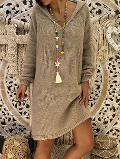 Long Sleeve Hoodie Knitted Casual Dress Shop missarty - Gray Long Sleeve Knitted Casual Acrylic Miss Casual Dresses, Casual Outfits, Fashion Outfits, Fall Dresses, Cheap Dresses, Elegant Dresses, Dress Fashion, Women's Fashion, Hoodie Dress