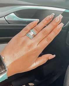 """"""" Y'all are literally my favorite! 😍"""" - Daisy ✨✊ Turquoise and Diamonds: its a thang! Wrap a Turquoise stacker ring around your engagement ring for a perfect Western Wedding, western fashion, boho wedding. just plain AWESOME- look! Western Engagement Rings, Western Wedding Rings, Western Rings, Cowgirl Wedding, Western Wedding Dresses, Wedding Rings Simple, Beautiful Wedding Rings, Cowgirl Bling, Western Jewelry"""