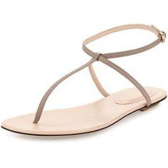 Sergio Rossi Leather Thong Sandal ($365) ❤ liked on Polyvore featuring shoes, sandals, stone, leather flat shoes, leather flats, flats sandals, flat shoes and flat thong sandals #sergiorossiflats #sergiorossinewyorktimes