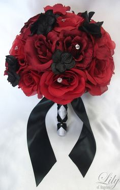 red and black rose bouquet