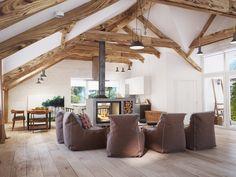 Дом с открытыми балками и свободной планировкой - Сундук идей для вашего дома - интерьеры, дома, дизайнерские вещи для дома