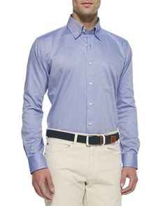 Solid Oxford Shirt, White