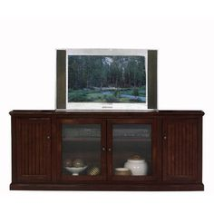 Breakwater Bay Meredith TV Stand Finish: Black, Door Type: Glass