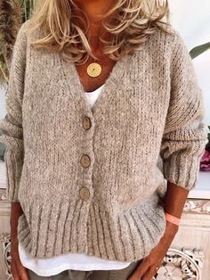 Solid Cable-knit Chunky knit V-Neck Cardigan - Sweaters - veryvoga Plus Size Sweaters, Casual Sweaters, Boho Sweaters, Loose Knit Sweaters, Casual Tops, Casual Shirts, Vogue Knitting, Mode Outfits, Stylish Outfits