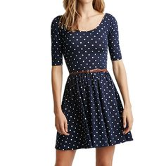 Graceful Scoop Collar Half Sleeve Polka Dot Backless Women s Dress Casual  Dresses  5f5b10f03f2