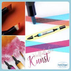 Promarker bietet eine streifenfreie Abdeckung auf Alkoholbasis, sodass Sie fehlerfreie, druckähnliche Ergebnisse erzielen können. Promarker hat zwei Spitzen: einen breiten Meißel und eine feine Kugelspitze, mit denen Sie problemlos zwischen größeren Bereichen und präzisen Details wechseln können. #winsor&newton #promarker #stifte #marker #texturen #scrapbooking #handlettering #josalzburg #farbensteger Airbrush, Illustrator, Marker, Art Supplies, Watercolor, Kunst, Canvas Frame, Pens, Graphics