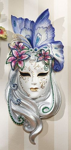 Art Deco Lady Butterfly Venetian Mask Wall Decor ** Check out this great product. Harlequin Mask, Ceramic Mask, Gothic Fantasy Art, Venice Mask, Venetian Masquerade Masks, Adornos Halloween, Carnival Masks, Beautiful Mask, Masks Art