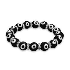 Bling Jewelry Bracelet Mauvais Oeil Noir Elastique et Cristal de Swarovski 19cm