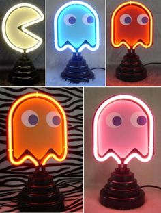 Neon Pac-Man lights for our new video game  tech suite featuring new and old. including vintage favorites from the university archives special historic game collection.. God Jon would love this if we had a basement, lol.