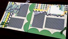 Chica Scrapbook página Kit, kit de Scrapbook página boy, página 12 x 12 prefabricados scrapbook, Scrapbook Premade página, diseño de libro de recuerdos 12 x 12, página de la familia