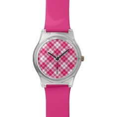 Picnic tablecloth pink lined wrist watch