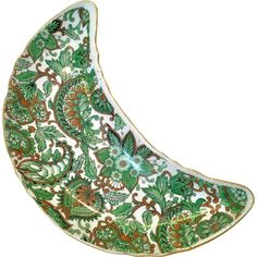 This green Royal Paisley Chintz Crescent Salad Plate from Arnart Creations, Japan, comes just in time for spring!  The all-over green paisley chintz