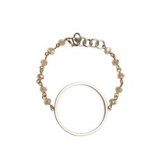 Silver Circle Cutout on Khaki Beaded Bracelet - Beaucoup Designs Silhouette Collection features time proven shapes combined with beads, pearls, chains and leather. #festivalstyle #ss2016 #beadedjewelry #jewelry