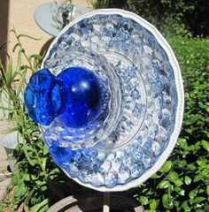 Oh So Pretty!!! Come on Spring!!! Cobalt Blue Glass Flower Plate Garden Art Suncatcher Sculpture Recycled Upcycled