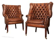 Pair Of Buttoned Leather Barrel Back Library Chair - Antiques Atlas Leather Chesterfield, Leather Armchairs, Indoor Chair Cushions, Windsor House, Library Chair, Antique Chairs, Wingback Chair, Barrel, Accent Chairs