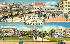 1950 Postmarked Postcard Greetings from Ocean Grove New Jersey NJ 4 Views Vacation Memories, Vacation Spots, Asbury Park, Beach Images, Great Memories, Stamp Collecting, Vintage Travel, Vintage Postcards, New Jersey