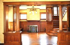 Quarter sawn oak colonnade, paneling and stairs - 1300 2nd Ave Nebraska City, NE, built circa 1910