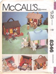 Minature House Furniture and Families; McCall's 8346; Crafts Sewing Pattern; Portable House Play Toy Childs Pattern; DIY Animal Family by AffordablePatterns