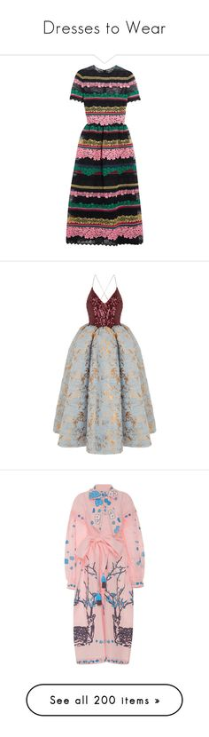 """Dresses to Wear"" by lbenigni ❤ liked on Polyvore featuring dresses, vestidos, valentino, fit-and-flare midi dresses, midi slip dress, lace slip dresses, lace fit and flare dress, slip dress, gowns and multi"