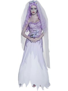 The Adult Ghost Bride Halloween Costume includes a long sleeveless white and purple dress with a netted overlay, lace-up ribbon at the back and a jagged finish to the skirt. Description from joke.co.uk. I searched for this on bing.com/images