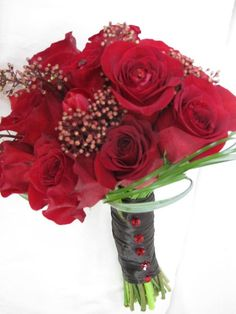 Roses, tulips, and skimmia
