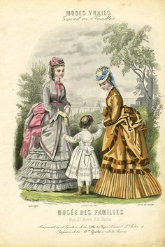 1873 Musee de Familles -Autumn colors, gold & copper, pretty grey w/ pink trims, long ruffles & pleats on the skirts, tilted hats,