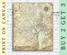 WASHINGTON Canvas print D.C. Columbia Vintage map Washington DC City Vintage map Art poster Washington retro old antique map United States