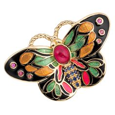 CIRO Butterfly brooch in orange featuring Cirolit pink/orange/blue, enamel multicolor, gold plated