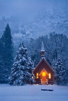 Winter Blue | Yosemite Chapel |  California  - Piriya Pete