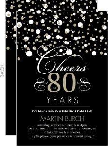 Black And Taupe Elegant Confetti 80Th Birthday Invitation 80th Decorations 60th Invitations