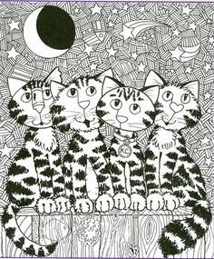 4 Cats on Fence  Cat coloring