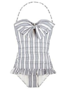 Modest one piece bathing suit inspired by 1950-1959 fashion