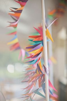 DIY Geometric Rainbow Garland